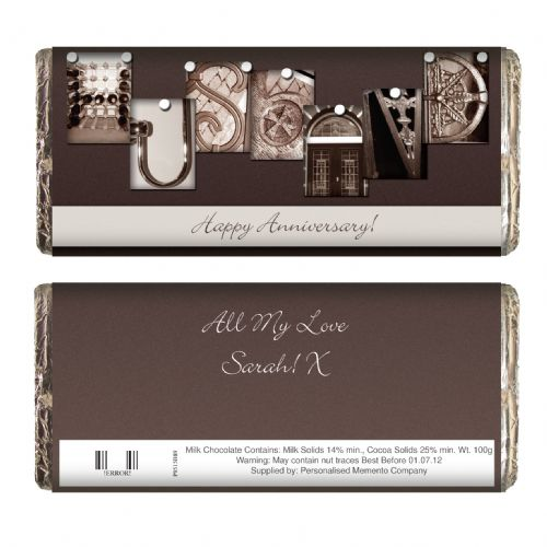 Personalised Affection Art Husband Chocolate Bar